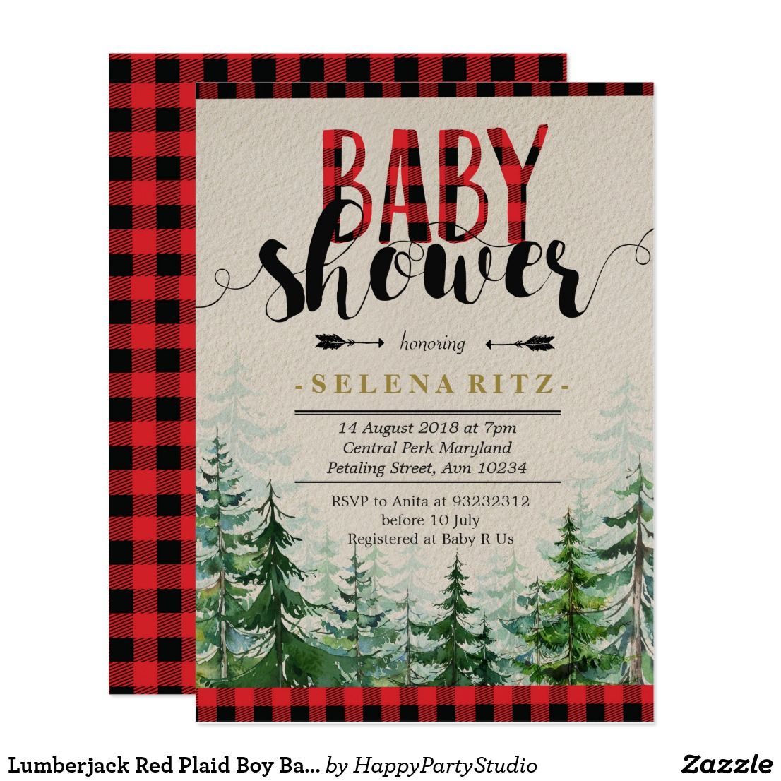 Lumberjack Red Plaid Boy Baby Shower Invitation | Pinterest | Boy ...