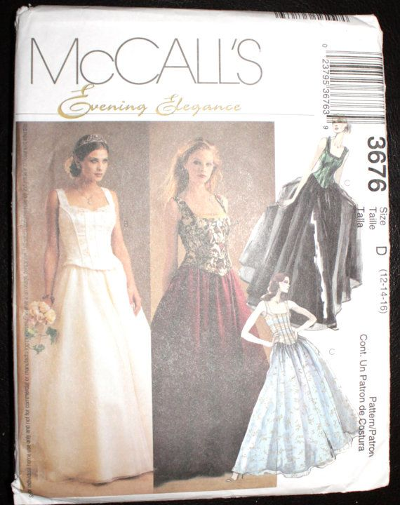 Mccalls Corset Top And Ball Gown Skirt Pattern Sizes 12 14 16