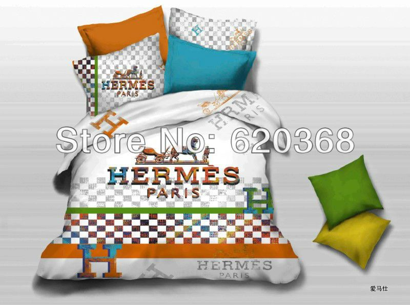 Fashion Brand LOGO printed orange comforter set,christmas bedding ...