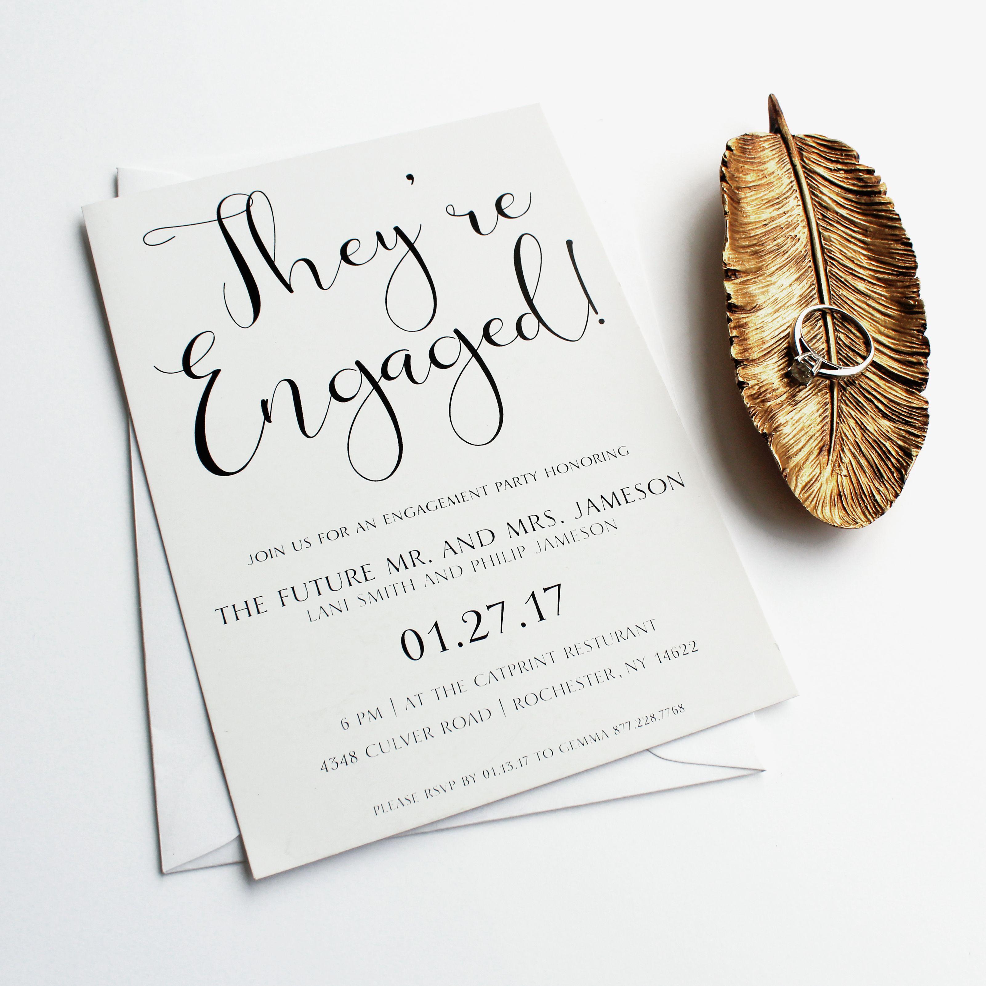 Simple, elegant, black and white engagement party invitation ...