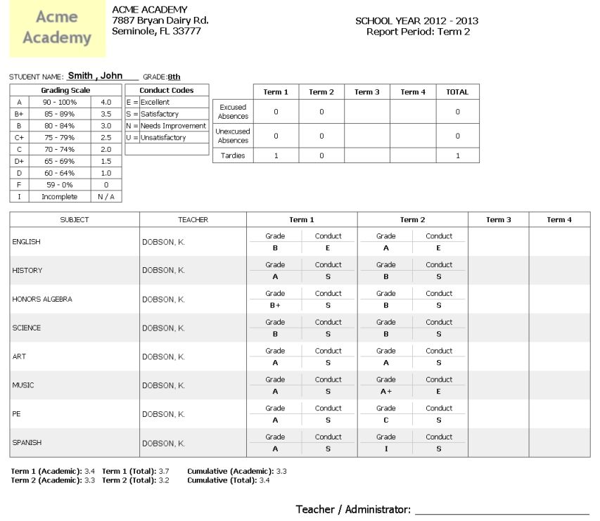 Printable Student Report Cards  Student Report