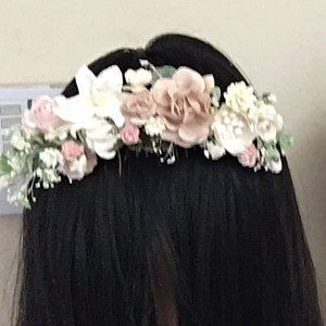 Blue blush flower comb wedding hair comb pink flower comb