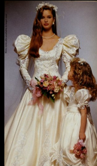 cf0b8903ab Late 1980s wedding gown and flower girl dress.