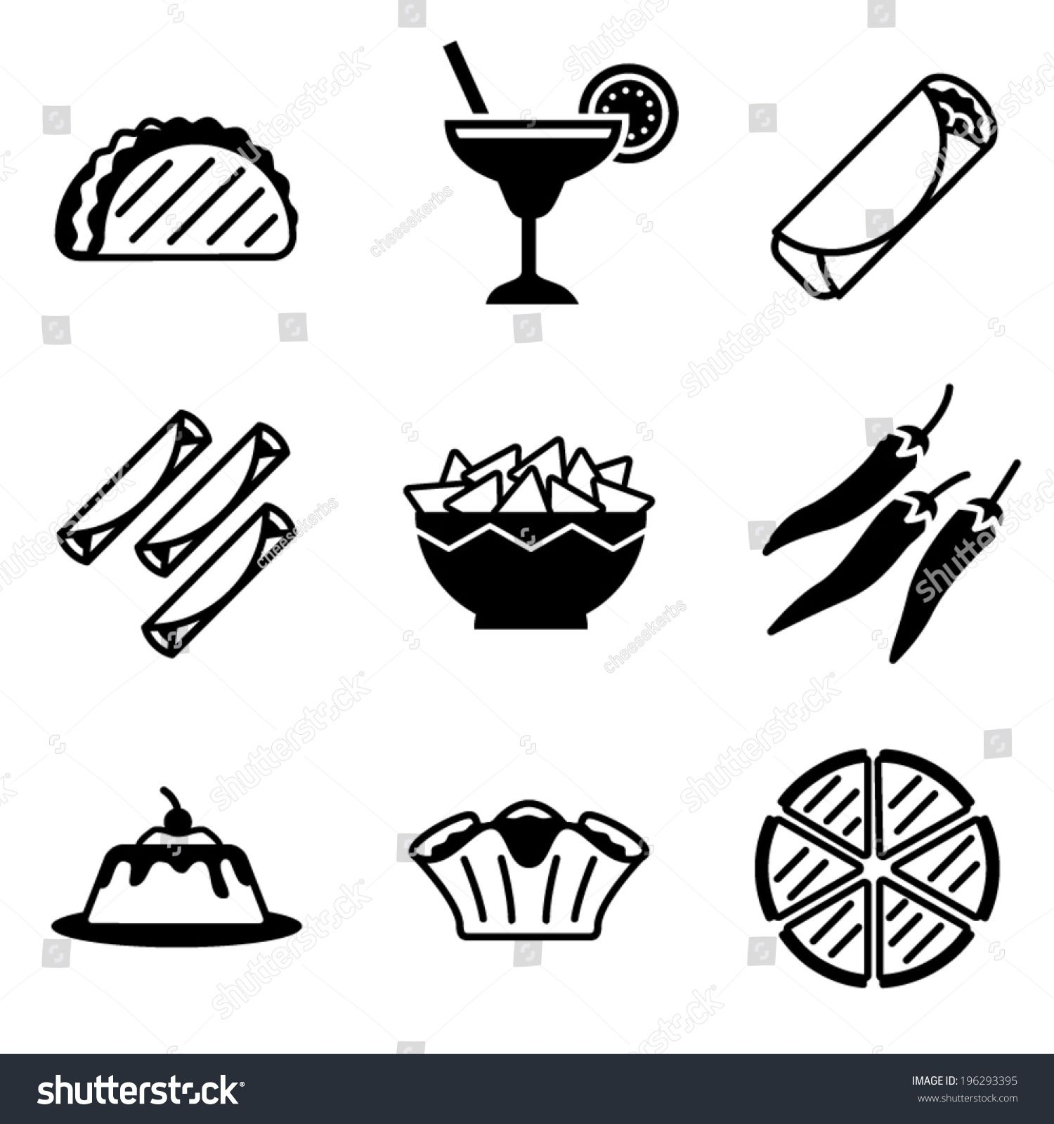 Vector Mexican Food Icons Ad Affiliate Mexican Vector Icons Food Food Icons Easy Doodle Art Simple Doodles