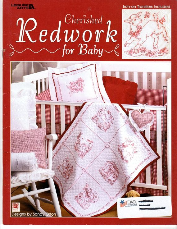 Cherished Redwork For Baby Embroidery Transfer Pattern Book