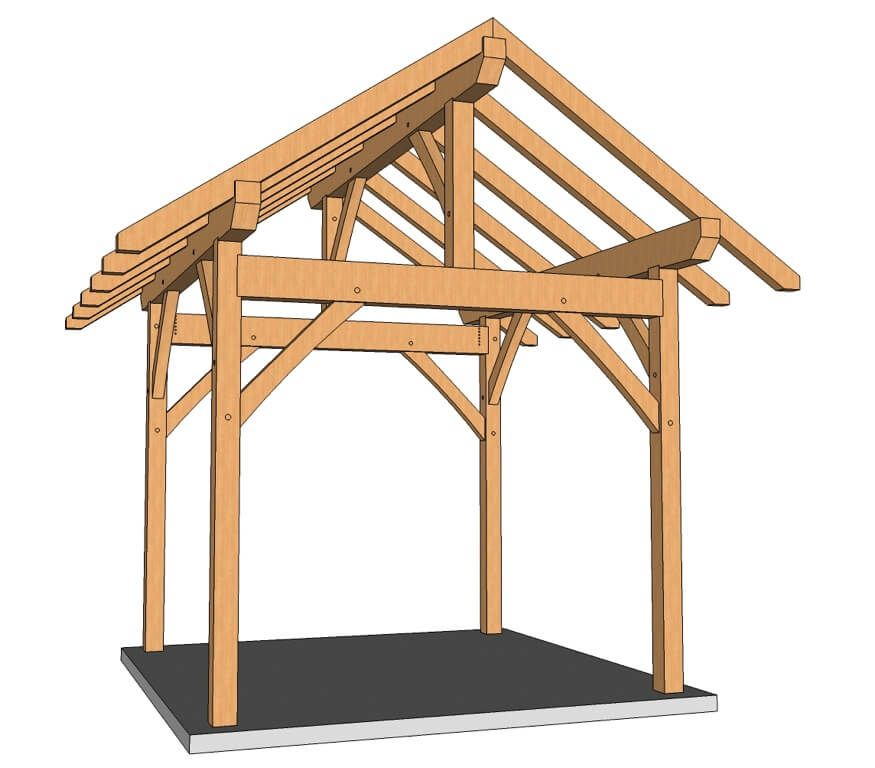10x10 Post And Beam Plan Timber Frame Hq In 2020 Post And Beam Timber Frame Pergola Designs