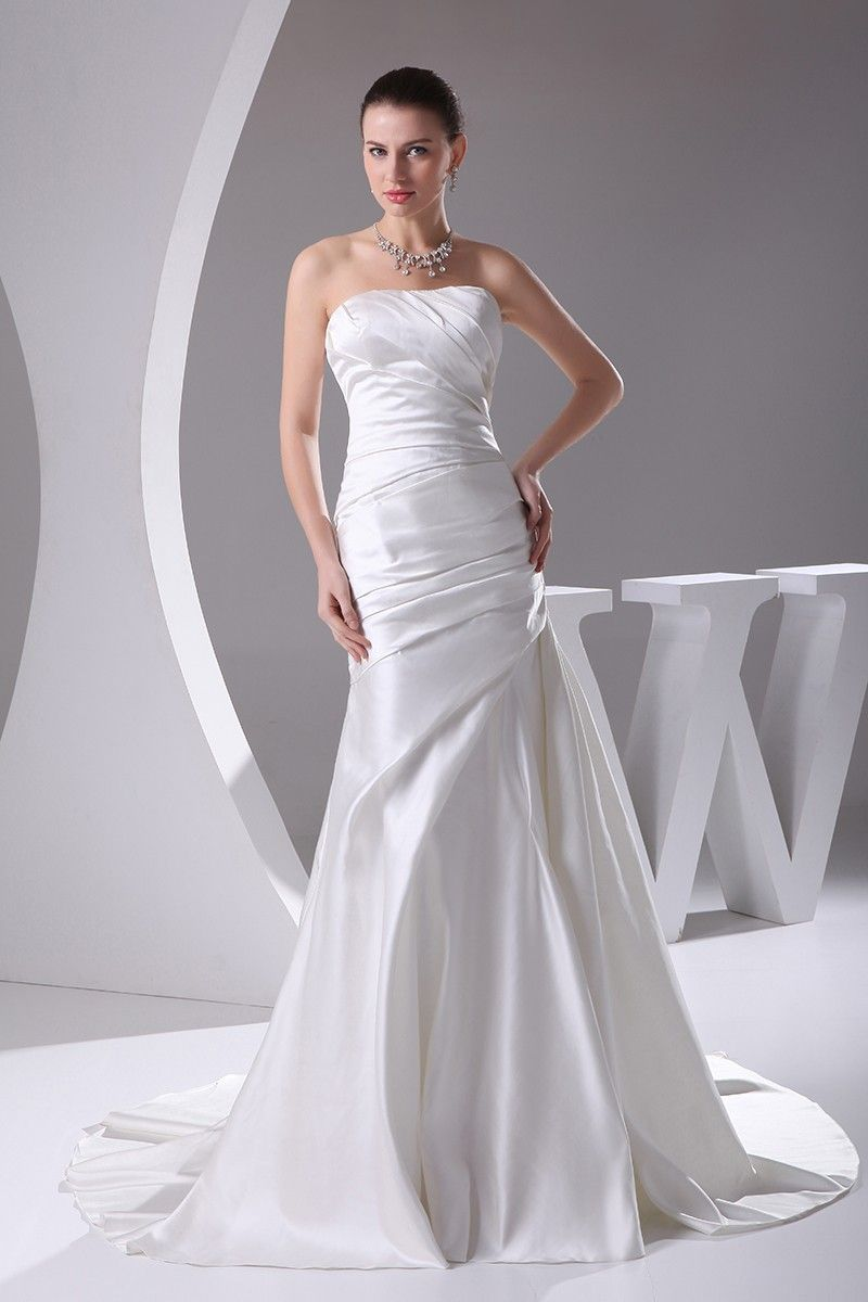 Wedding dresses with train  Sheath Strapless Court Train Satin Wedding Dress OP