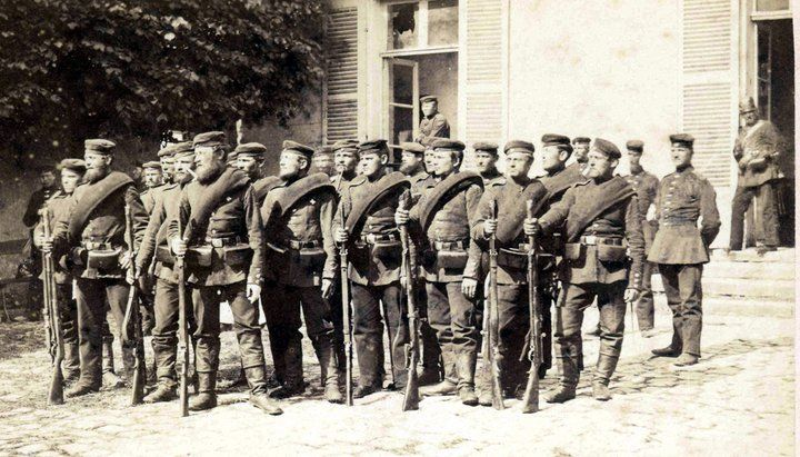 Franco-Prussian War (1870) - Prussian troops armed with needle rifles