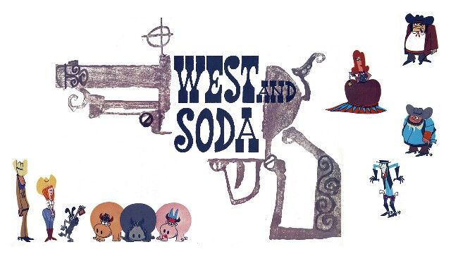 Bruno Bozzetto, West and soda. His typical line goes parallel to the cool and extravagant sixties graphic, that made the history of cartoon, like Freleng's Pink Panther or Saul Bass' carachters.