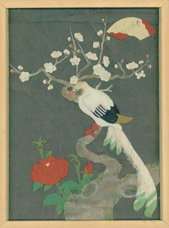 """Japanese Oshie Zaiku Textile Painting.  A relatively rare old oshie zaiku in a wood frame, made in 19th yeart of Meiji period(1886): dating written on the backside. Mounted in a pine box frame. This textile 'painting' features a long-tailed bird with 'ume'(plum flowers) and rose flower motifs, which are made of chirimen silk.  11.5"""" x 1"""" x 15.5"""""""