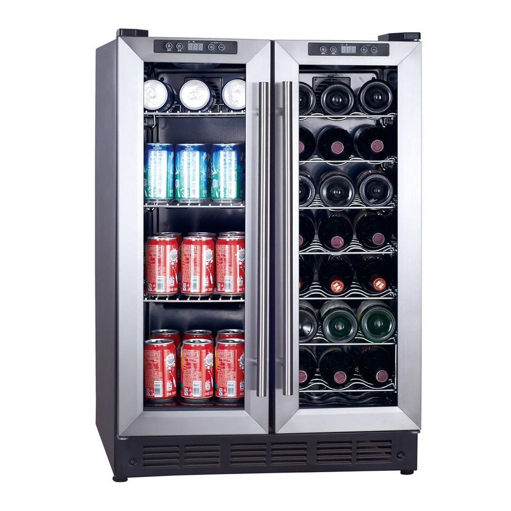 Magic Chef Dual Zone 23 4 In 42 Bottle 114 Can Wine And Beverage Cooler Mcwbc24dst The Home Depot Wine Coolers Drinks Wine Refrigerator Beverage Cooler