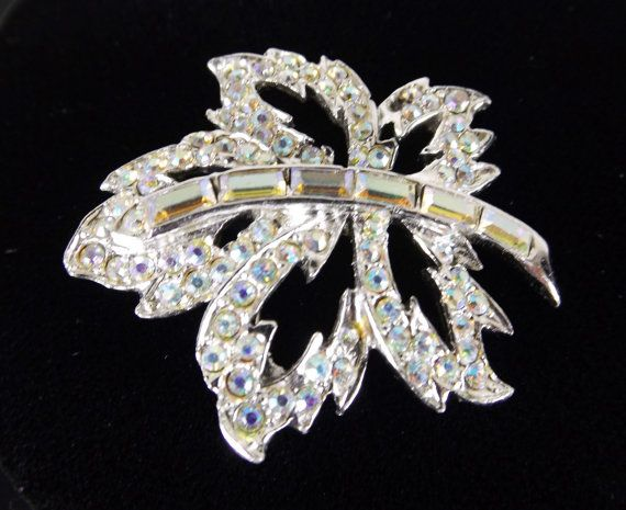 TOP for WEISS Aurora Borealis Crystal Maple Leaf Brooch