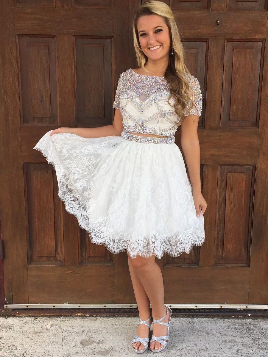 Luxurious Two Piece White Lace Short Homecoming Dress Two Piece Homecoming Dress Backless Homecoming Dresses Prom Dresses Short [ 1200 x 900 Pixel ]