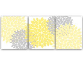 Home Decor Wall Art Yellow Bedroom Decor Yellow and Grey Flower Burst Art 12x12 Bathroom Wall Decor Nursery Wall Art - HOME59  sc 1 st  Pinterest & Home Decor Wall Art Yellow Bedroom Decor Yellow and Grey Flower ...
