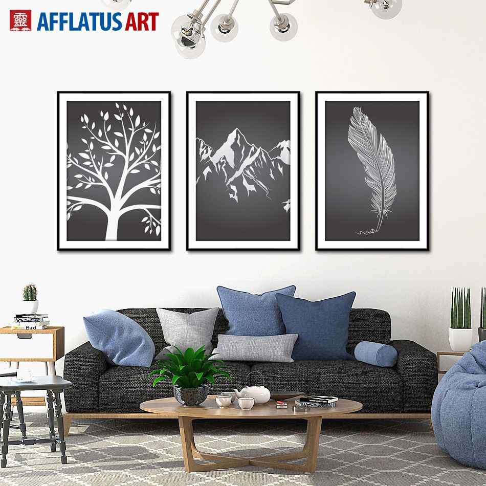 Afflatus decoration painting minimalist black white canvas painting