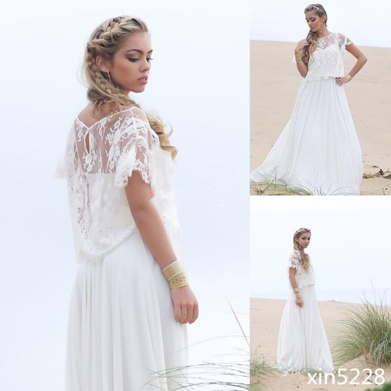 Bohemian Wedding Dresses with Wrap Jacket Chiffon A Line Boho Beach ...