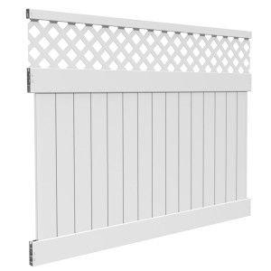 Weatherables Glenshire 6 Ft H X 8 Ft W White Vinyl Lattice Top Fence Panel Kit Pwpr Lat11 3 6x8 The Home Depot