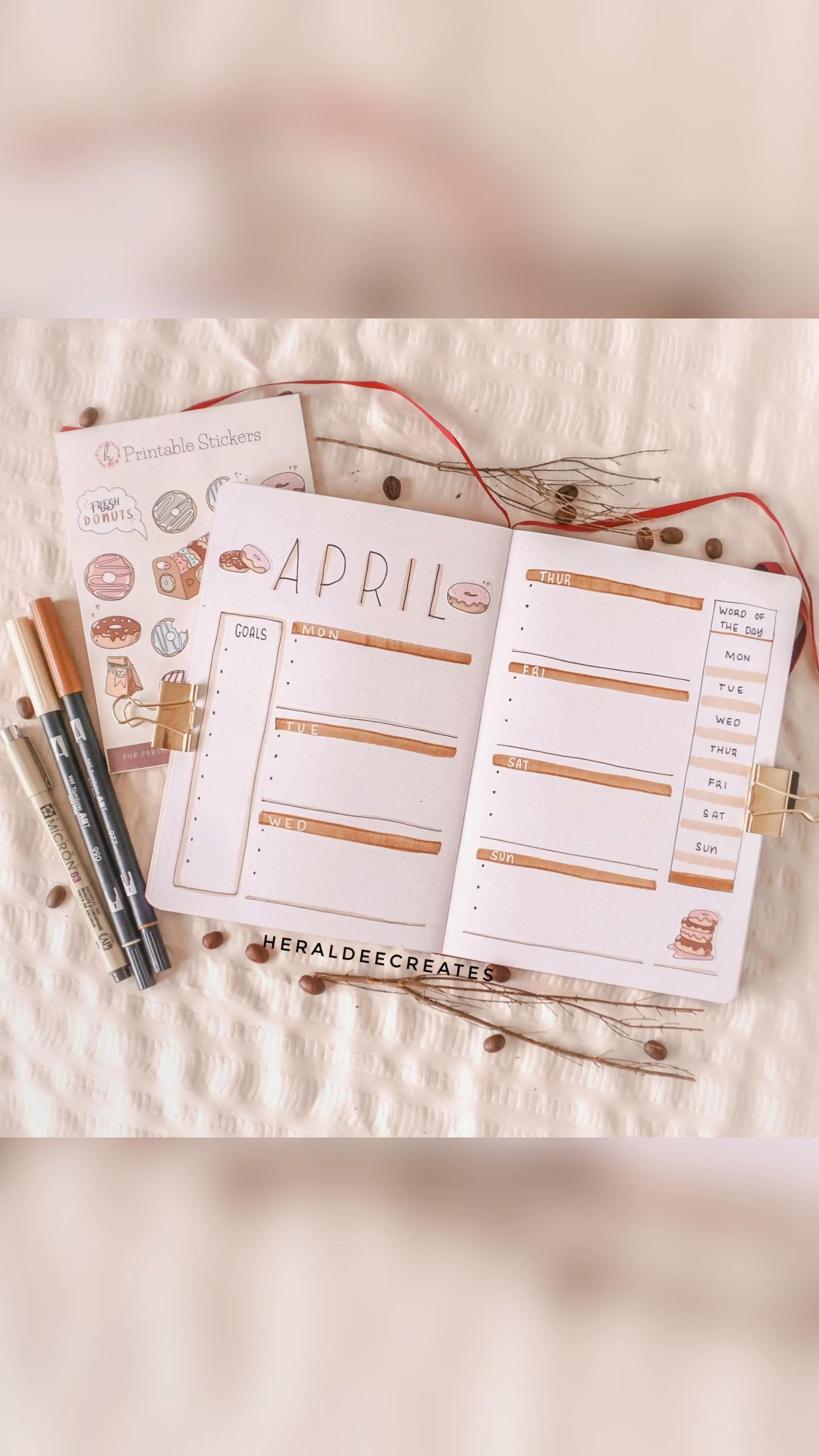 Coffee Theme Bullet Journal Weekly Spread Set-up