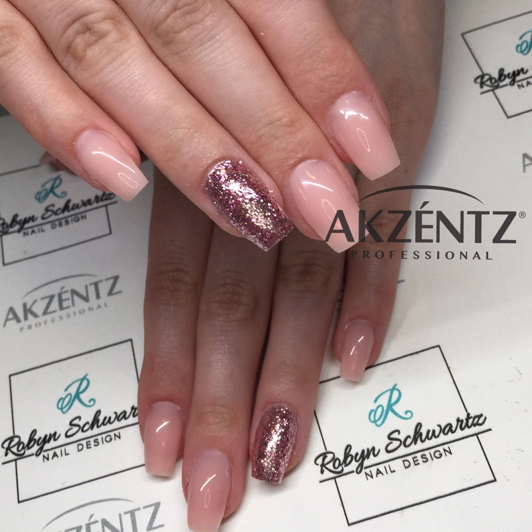 So simple and pretty - natural pink and glitters on coffin gel nails ...