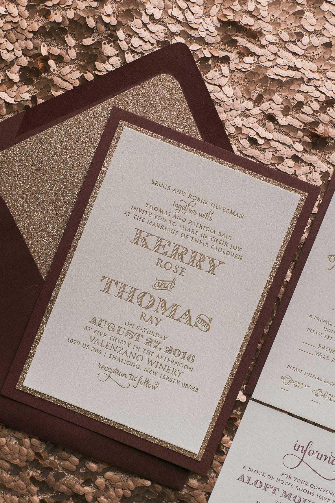 Real wedding kerry and thomas wedding invitation inspiration real wedding kerry and thomas fancy fall wedding invitation inspiration with rose gold glitter monicamarmolfo Image collections