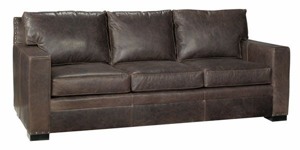 Wellington Large Square Arm Leather Pillow Back Couch With Nails