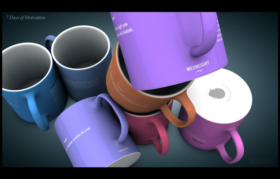 Motivational Coffee Mug, Modeled in Cinema4d