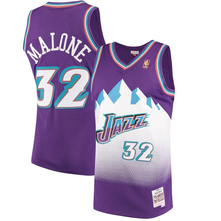 0aca05068b7f Karl Malone Utah Jazz Mitchell   Ness 1996-97 Hardwood Classics Swingman  Jersey - Purple