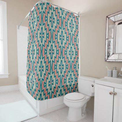 Tribal Diamond Pattern in Teal and Coral Shower Curtain | Coral ...