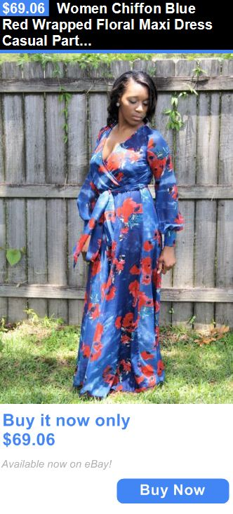 Sexy Women Dresses: Women Chiffon Blue Red Wrapped Floral Maxi Dress Casual Party Gown Wedding BUY IT NOW ONLY: $69.06