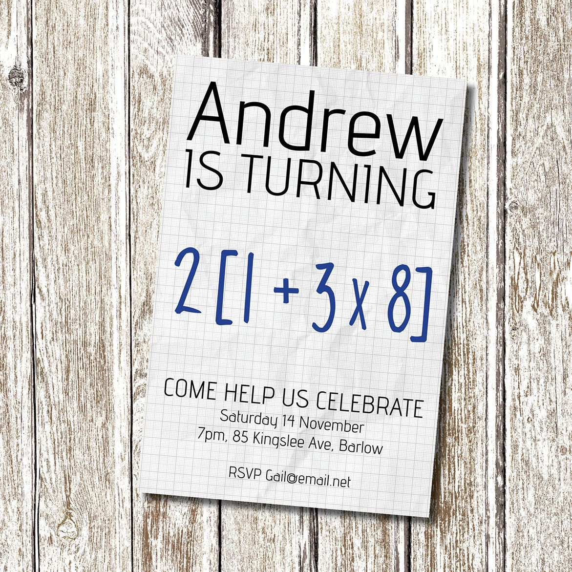 Math Equation 50th Birthday Party Invitation by deedubdesigns ...