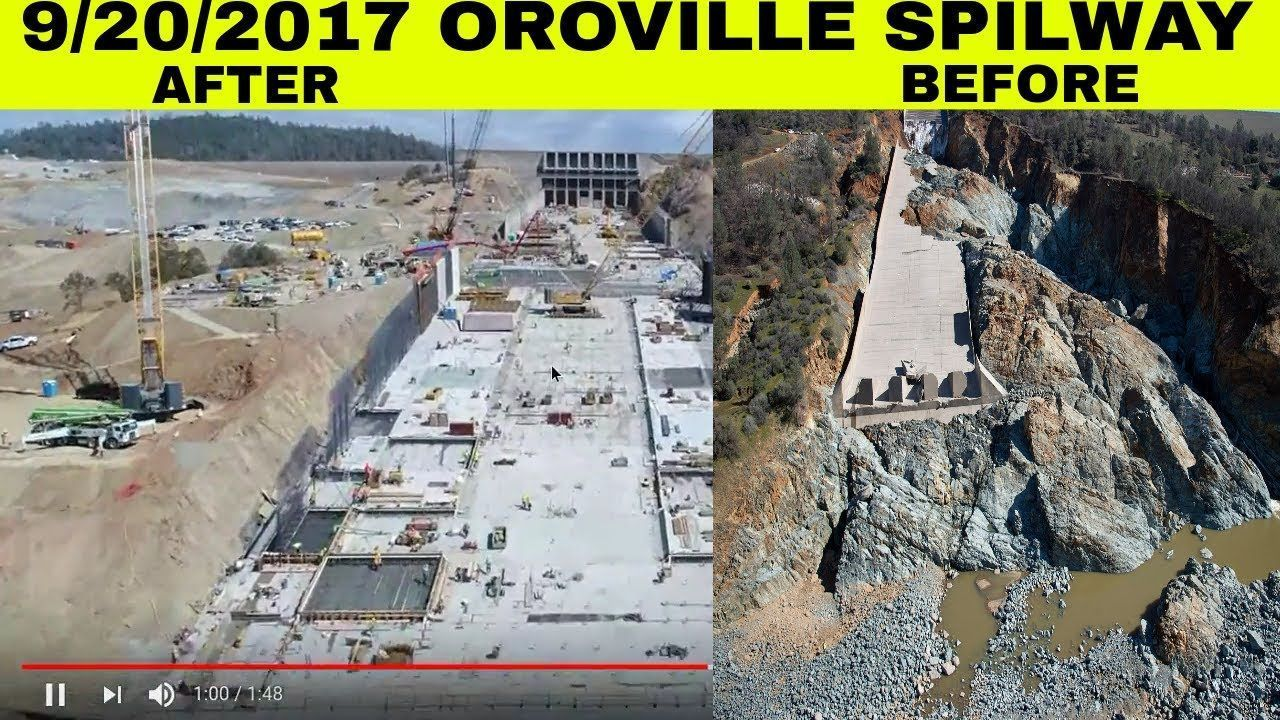 LAKE OROVILLE DAM SPILLWAY UPDATE, BEFORE AND AFTER RAW NEW FOOTAGE