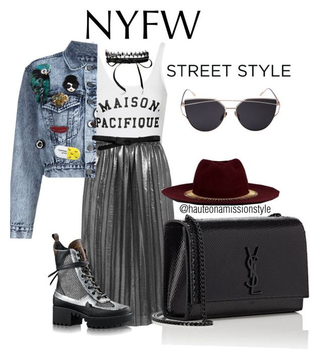 """""""NYFW Street Style"""" by hauteonamission ❤ liked on Polyvore featuring Topshop, Étoile Isabel Marant, Alice + Olivia, Fallon, Yves Saint Laurent, Venna and Lowie"""