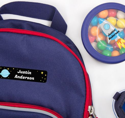 Space personalized name labels, to keep track of your little astronauts gear!