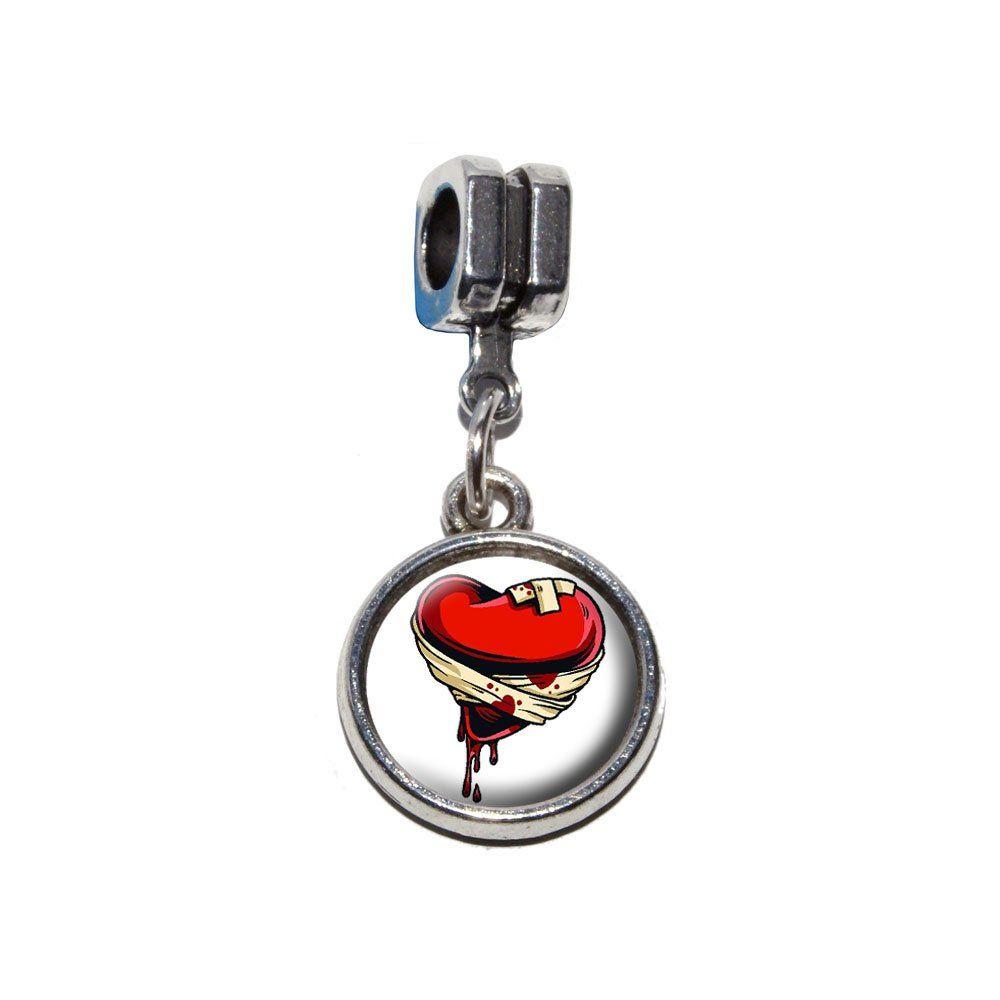 2be677664 Wounded Heart - Lost Love Divorce Break-up Italian European Euro Style  Bracelet Charm Bead - Fits Pandora, Biagi, Troll, Chamilla, Others:  Amazon.co.uk: ...