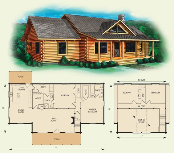 Buchanan Log Home And Log Cabin Floor Plan