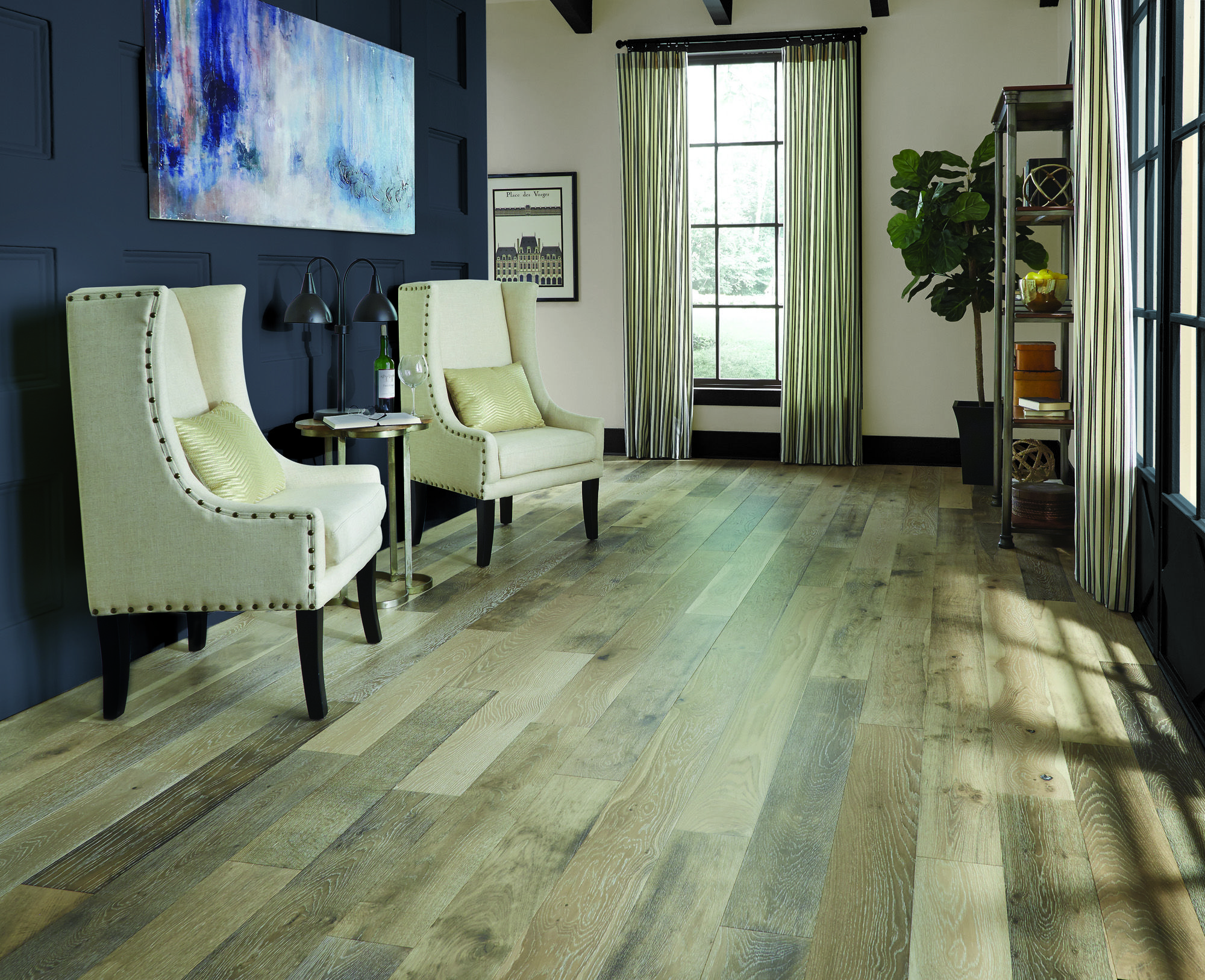 Wide Plank European Styled Vintage French Oak Hardwood Showcases And Elegant Mix Of Beige And Gr European White Oak Floors White Oak Floors French Oak Flooring
