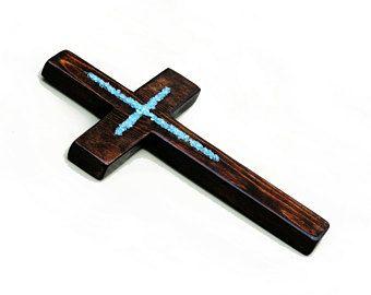 "11""x7"" Decorative wall cross, wooden wall cross, rustic cross, primitive cross, wood cross, blue cross, baptism cross, baptism gift"