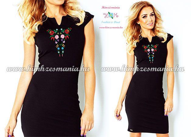 Elegáns fekete kalocsai hímzett ruha ▷ http   himzesmania.hu Kalocsai 72e9b8bb23