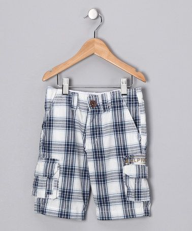 Take a look at this Navy Plaid Justin Cargo Shorts - Boys by Alpha Industries on #zulily today!