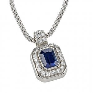 Emerald Cut Sapphire & Round Diamond Pendant with Fope Chain