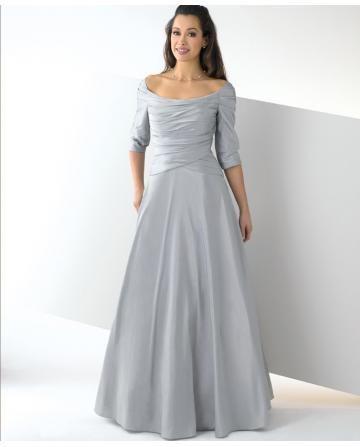 alinie schlichte günstige brautkleider aus satin mit halbe Ärmel  abendkleider mit ärmel