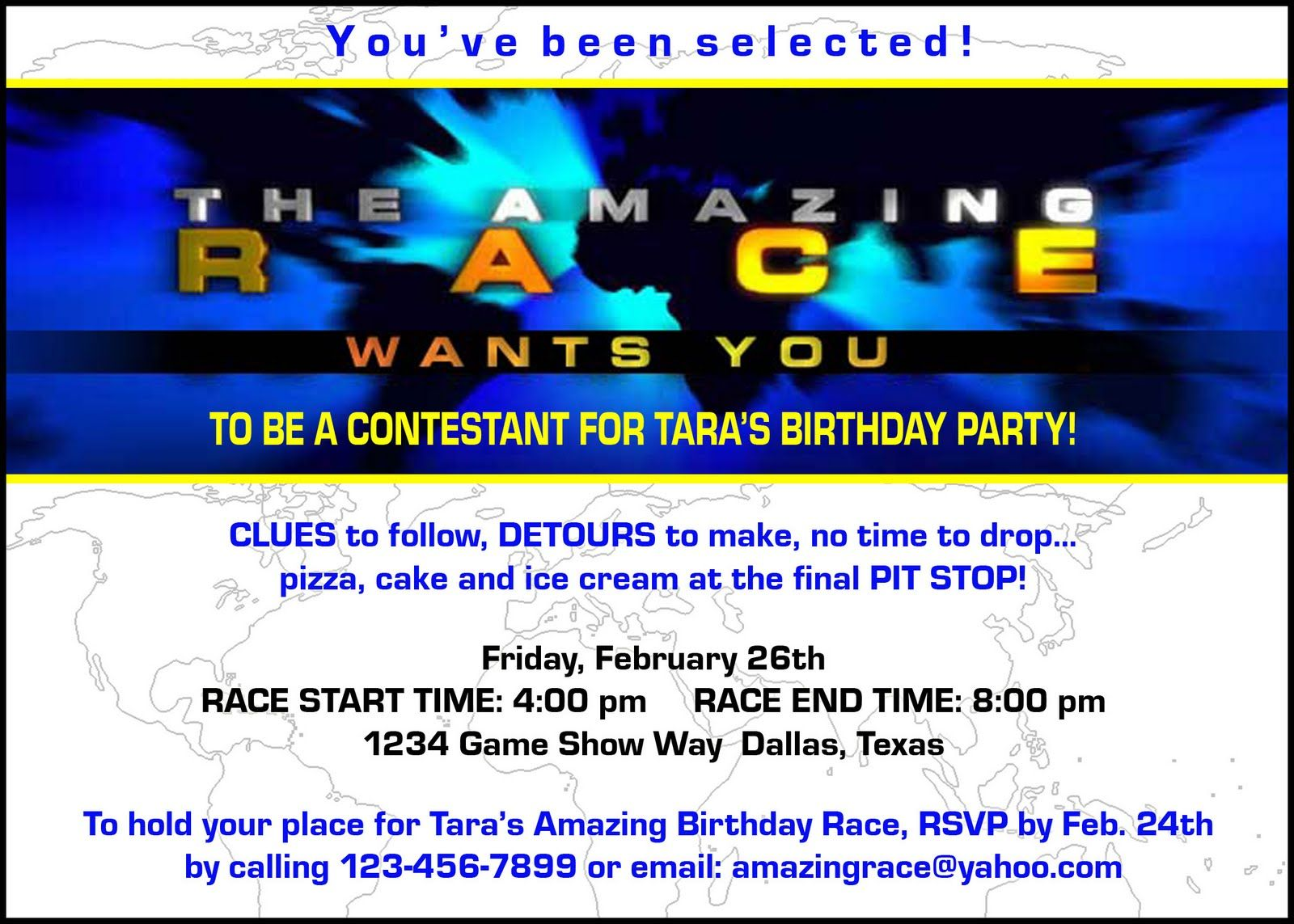 Amazing race ideas - Image Detail For Paper Perfection Free Amazing Race Birthday Party Invitation
