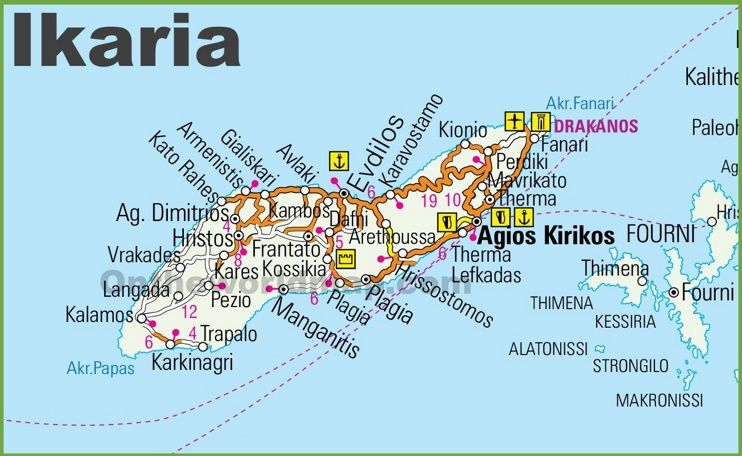 Ikaria road map Maps Pinterest Greece islands and Greek islands