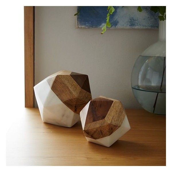 West Elm Marble Wood Object Small Octahedron