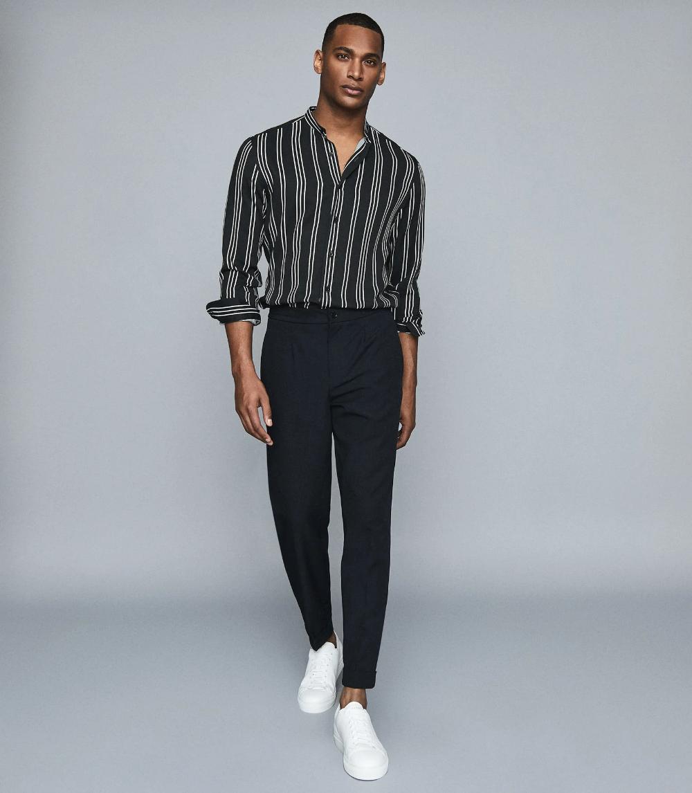 Yorker Navy Striped Grandad Collar Shirt – REISS