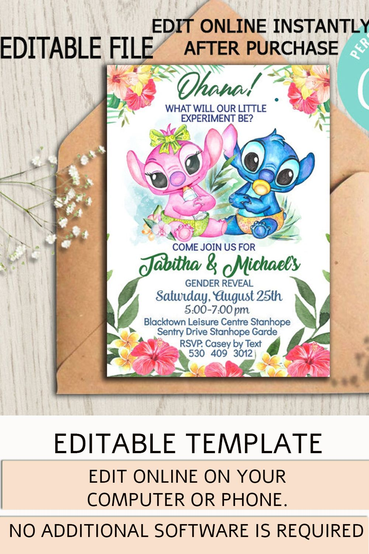 Lilo And Stitch Gender Reveal Invitation Baby Shower Etsy Gender Reveal Baby Shower Invitations Gender Reveal Invitations Baby Party Themes