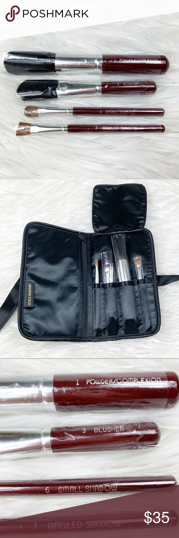 Merle Norman Set of 4 Makeup Cosmetic Brushes Bag NWT It