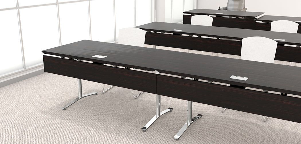 Exceptional Nevins Slide Training Tables With Veneer Modesty Panels