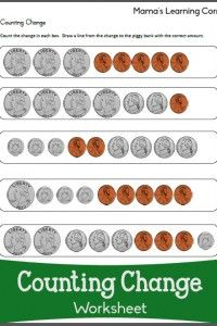 Counting Change Worksheets | School | Counting money ...