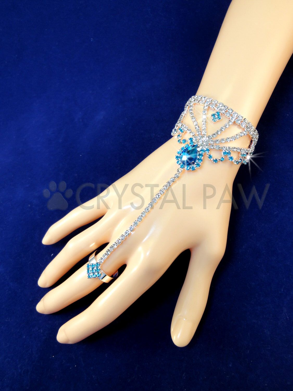 Crystal Hand Jewelry. Blue Teardrop Rhinestone. Sparkling Boho Bracelet. Hand Chain. Body Chain. Gypsy chain. Boho Bracelet. One piece. by CrystalPawCom on Etsy https://www.etsy.com/listing/254061943/crystal-hand-jewelry-blue-teardrop